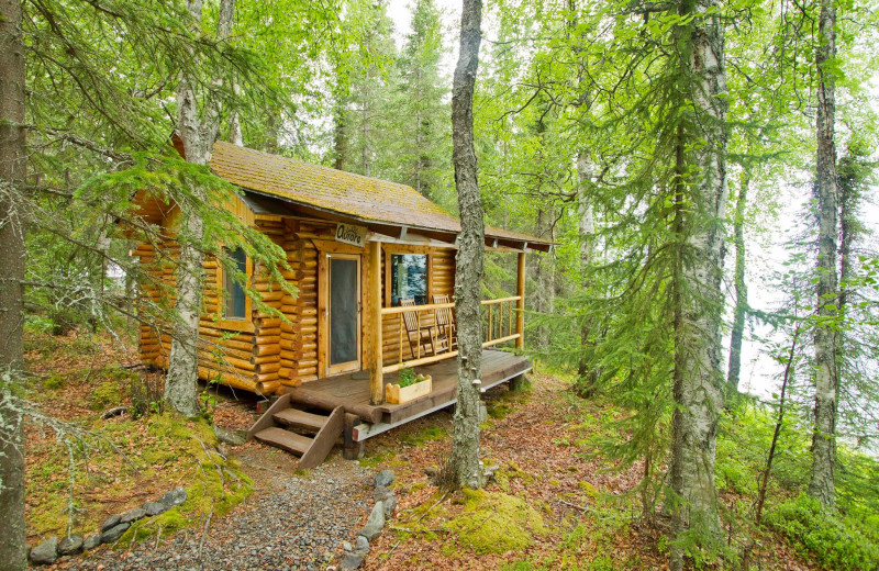 Cabin exterior at Kenai Backcountry Lodge.