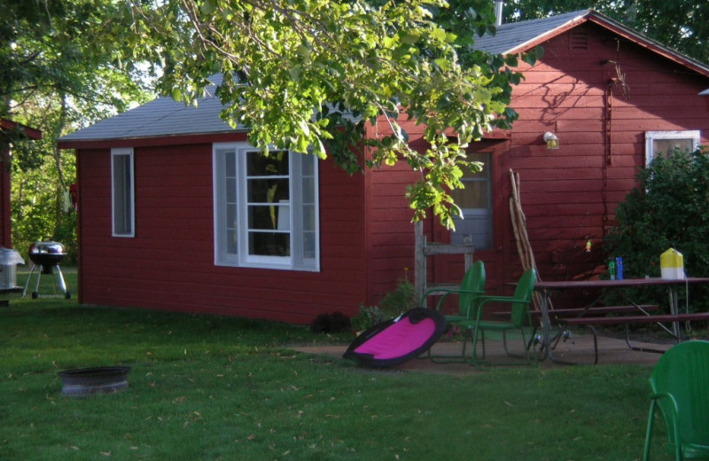 Cabin exterior at Whispering Waters Resort.