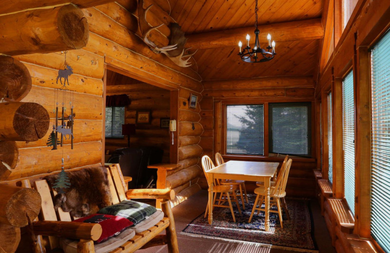 Cabin interior at Bear Paw Adventure.
