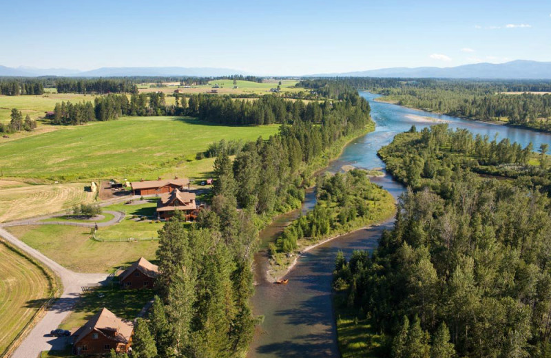 Aerial view of Gentry River Ranch.
