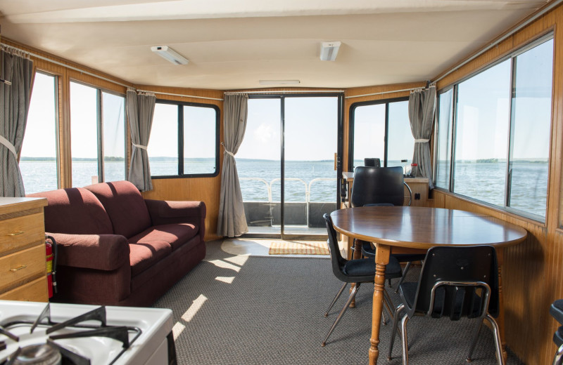 Houseboat interior at Hiawatha Beach Resort.