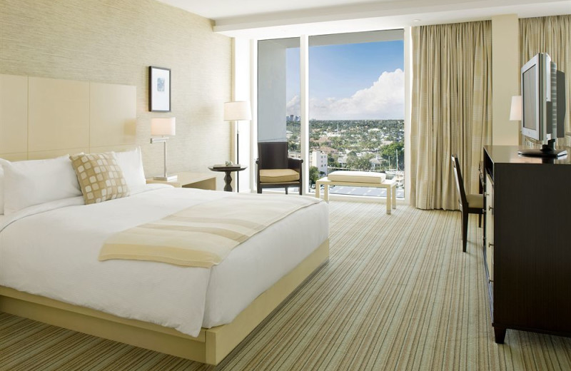 Guest room at Hilton Fort Lauderdale Marina.