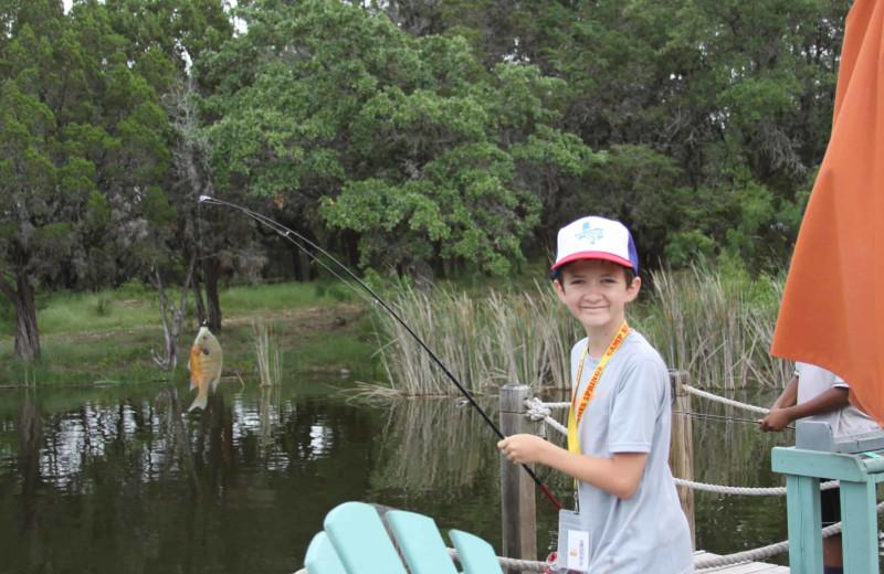 Fishing at Camp Balcones Spring.