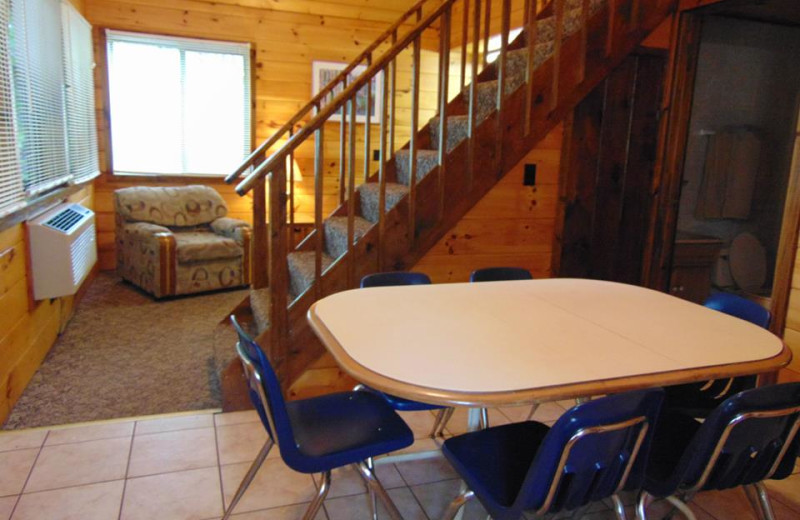 Cabin interior at The Depe Dene Resort.