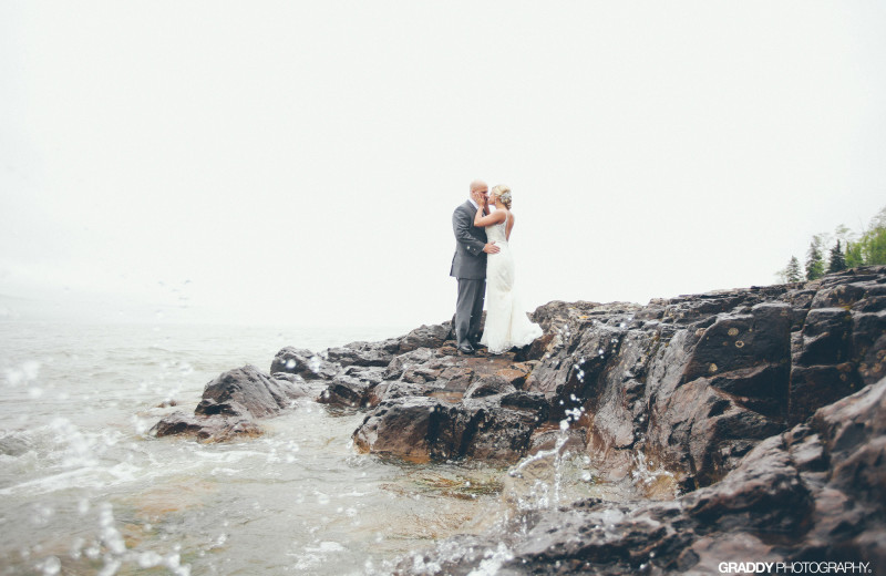 Wedding couple at Superior Shores Resort.