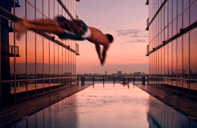 Diving into the pool at Casa Moderna Miami.