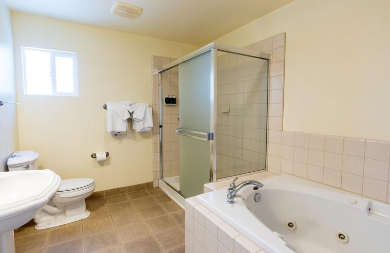 Guest bathroom at EuroSpa & Inn.
