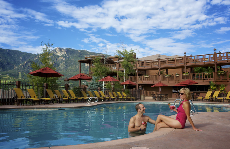 The resort pool at Cheyenne Mountain Resort features stunning mountain views and is open year round.