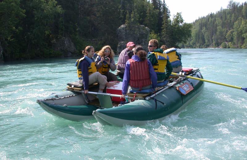 River rafting at Summit Lake Lodge.