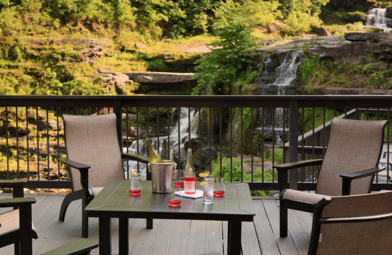Seating on the Deck at Ledges Hotel