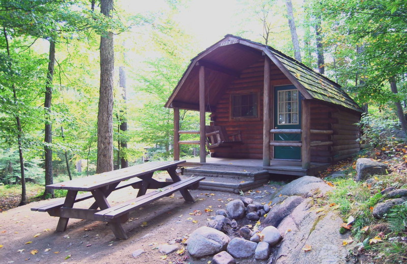Cabin exterior at Old Forge Camping Resort.