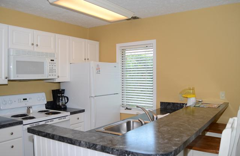Vacation rental kitchen at The Beach Condominiums Hotel-Resort.