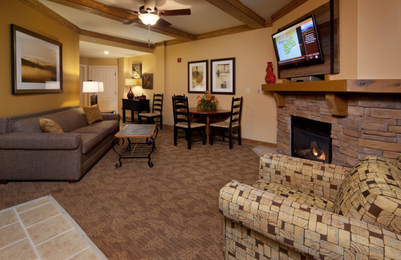 Guest living room at Holiday Inn Club Vacations Smoky Mountain Resort.