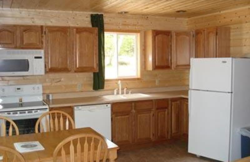 Cabin kitchen at Sandy Pines Resort.