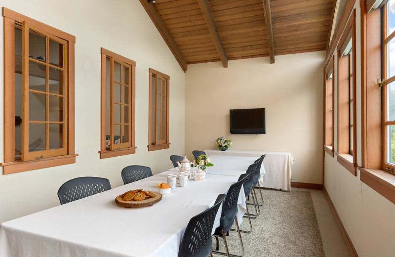 The Birds Nest is a bright room that can hold 12 seated at the conference table.