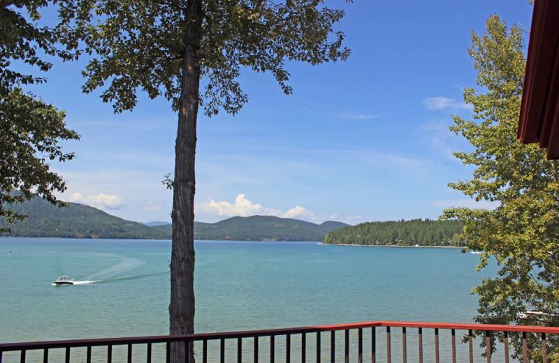 Condo balcony view at The Lodge at Whitefish Lake.