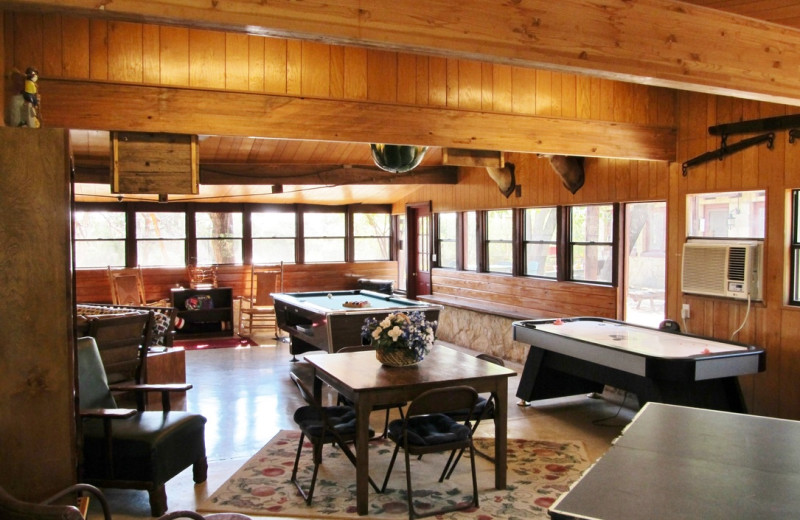 Game room at Twin Elm Ranch.