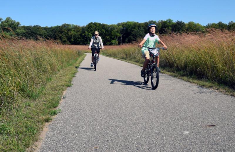 Biking near Sherin Memorial Park.