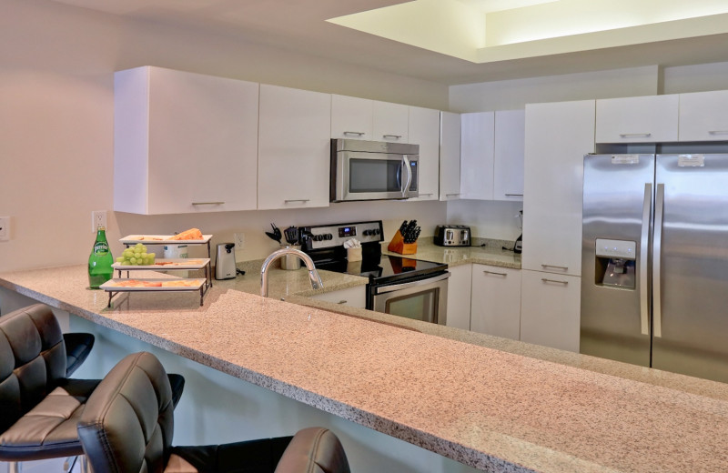 Rental kitchen at La Isla VR - South Padre.