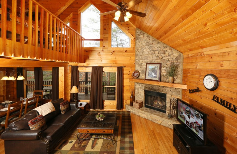 Living Room at Cabin in Little Valley Mountain Resort