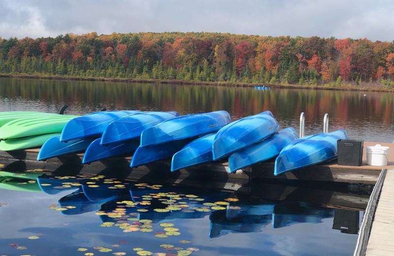 Canoes at The Lodge at Woodloch.