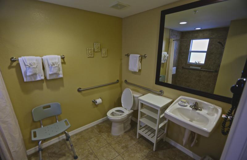 Accessible bathroom.at Shoreline Island Resort.