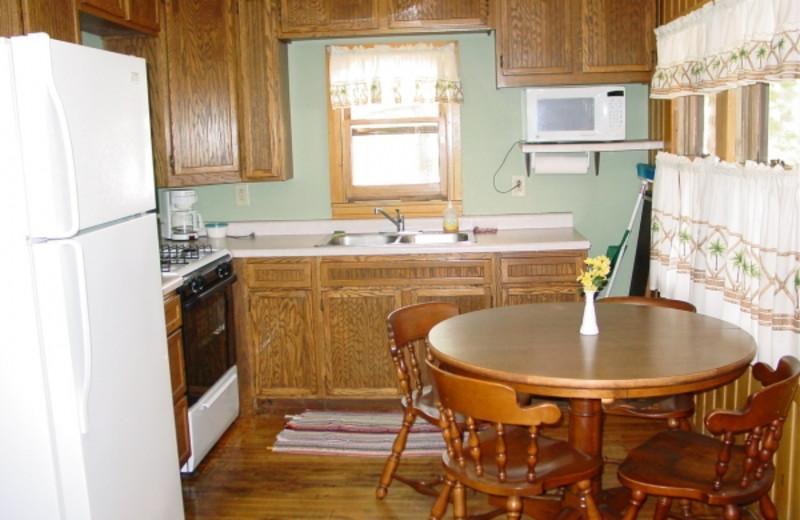 Cabin kitchen at Birchwood Beach Resort.
