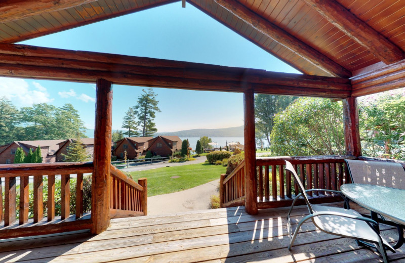 Porch view at The Lodges at Cresthaven on Lake George.