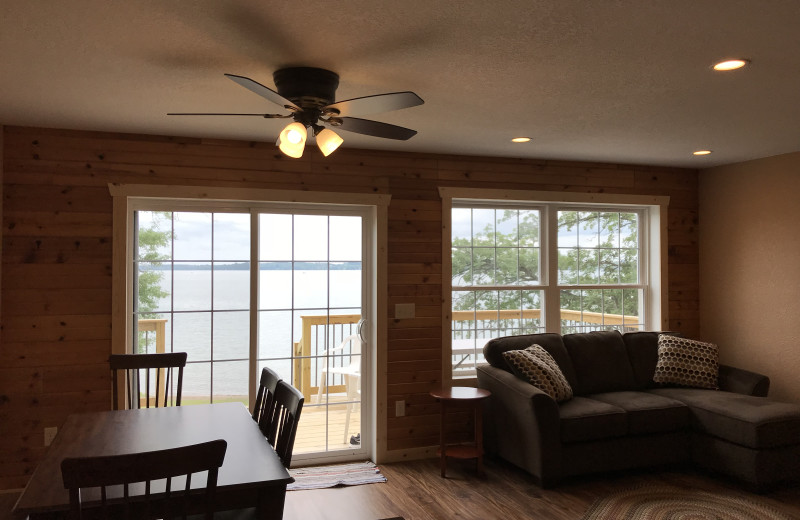 Cabin living room at Cozy Cove Resort.
