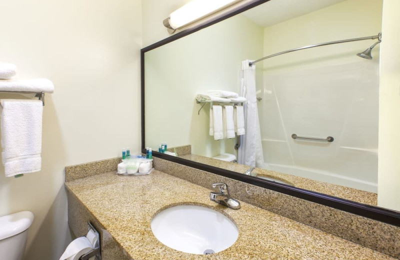 Guest bathroom at Holiday Inn Express Hotel & Suites - Benton Harbor.