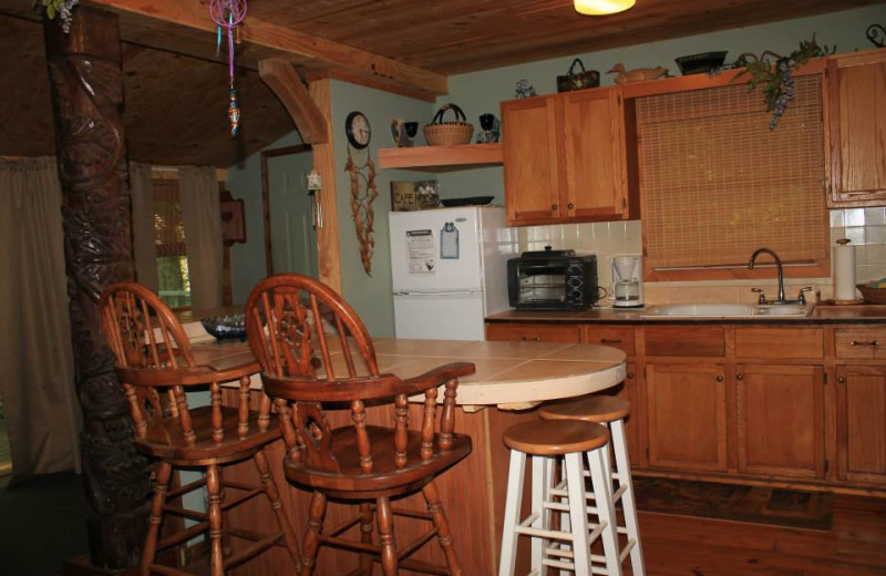 Cabin kitchen at Mountain Rest Cabins and Campground.