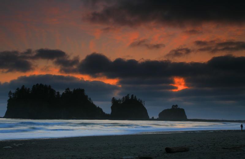 Sunset at Quileute Oceanside Resort.