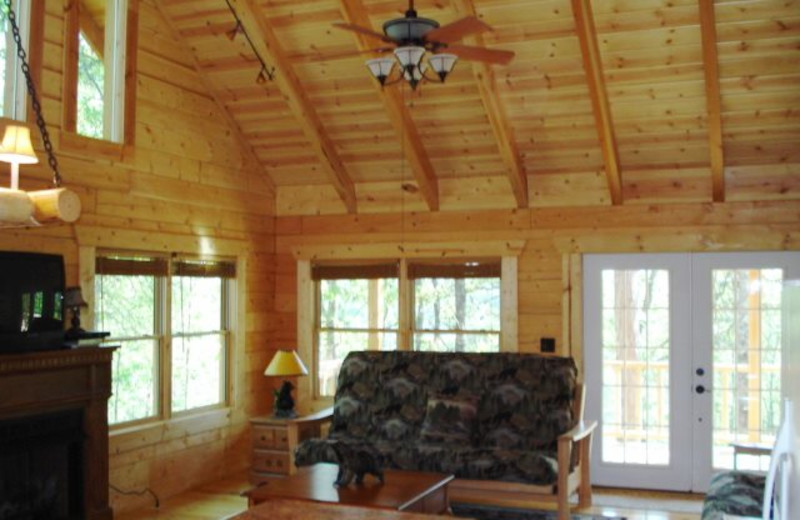 Cabin living room at Pine Ridge Log Cabins.