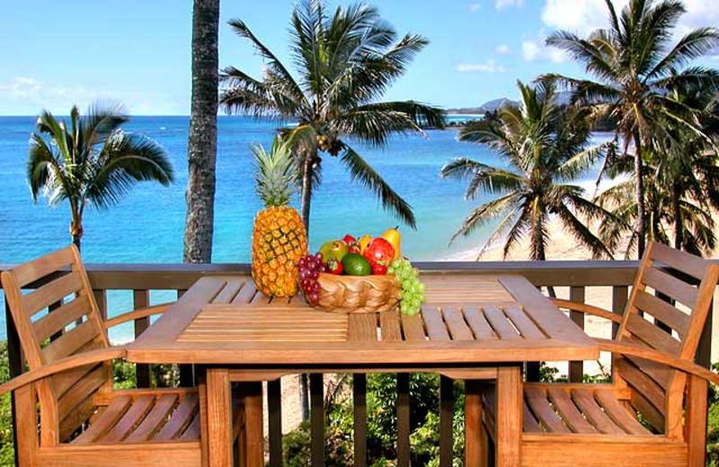 Vacation rental balcony view at Wailua Bay View Condos.
