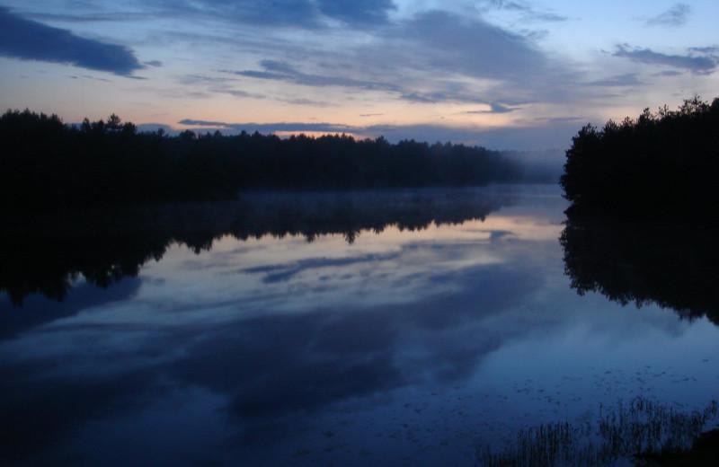 Sunset at Crooked Lake Wilderness Lodge.