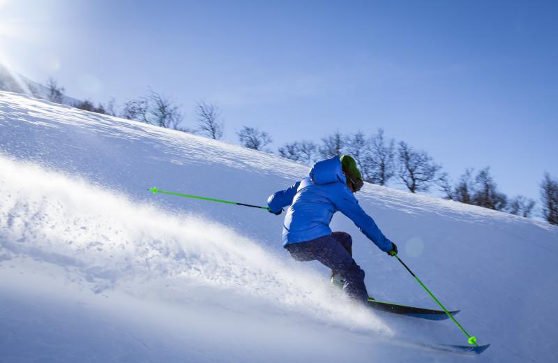 Skiing near The Lodge at River Run.