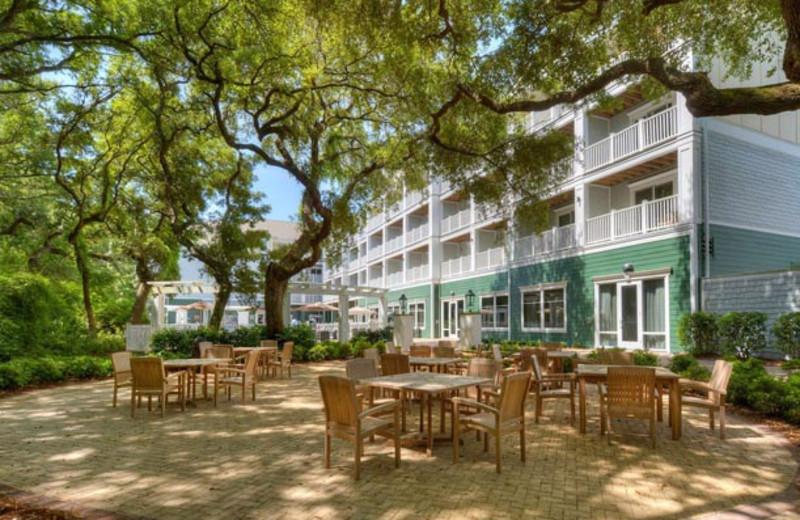 Patio at Hampton Inn & Suites Jekyll Island.