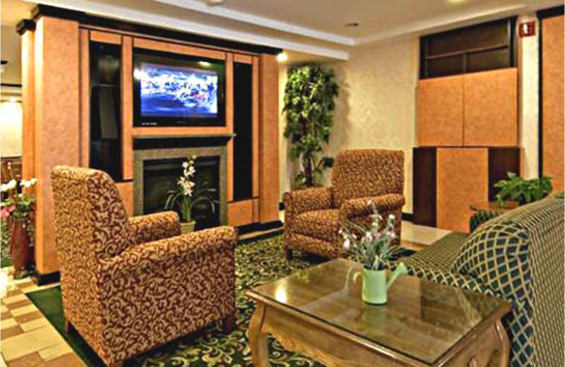 Hotel lobby at Comfort Inn Lakes Region.