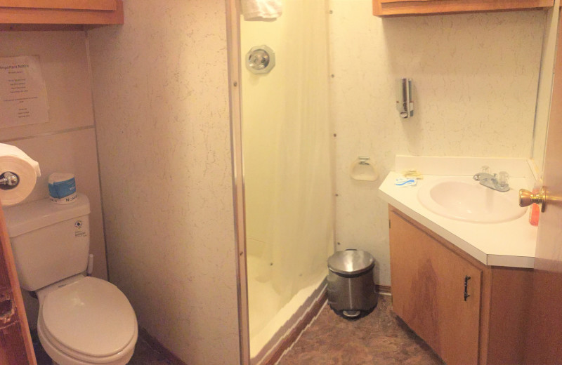 Cabin bathroom at Gwin's Lodge & Kenai Peninsula Charter Booking Service.