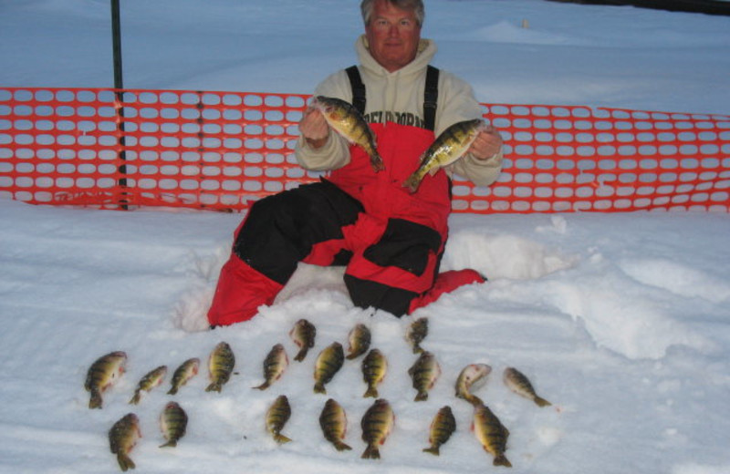 Ice fishing at Appeldoorn's Sunset Bay Resort.