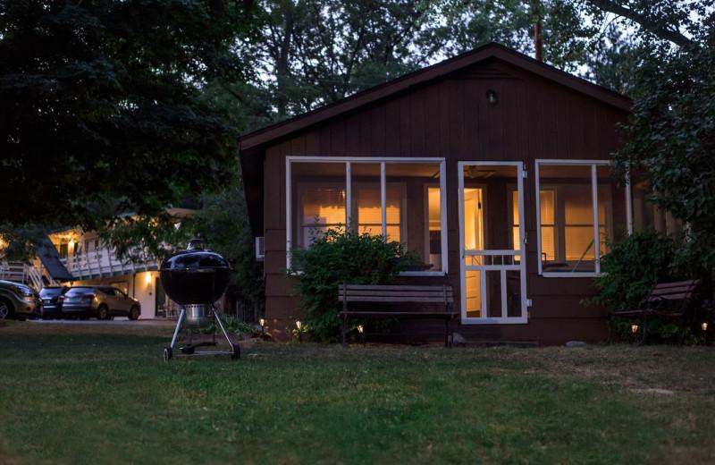 Cabin exterior at Delton Oaks Resort.