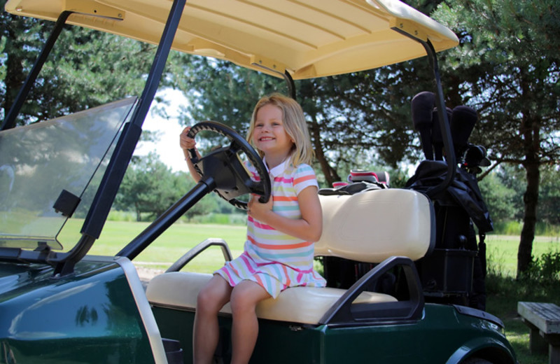 Driving the Golf Cart at Pocono Vacation Park
