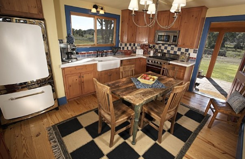 Guest kitchen at Cottonwood Meadow Lodge.