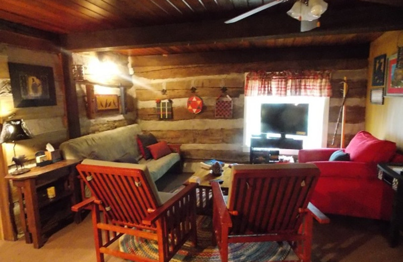 Cabin living room at Cabins in Hocking.