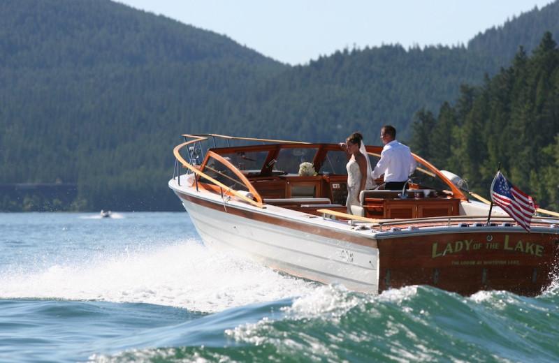 Boating at The Lodge at Whitefish Lake.