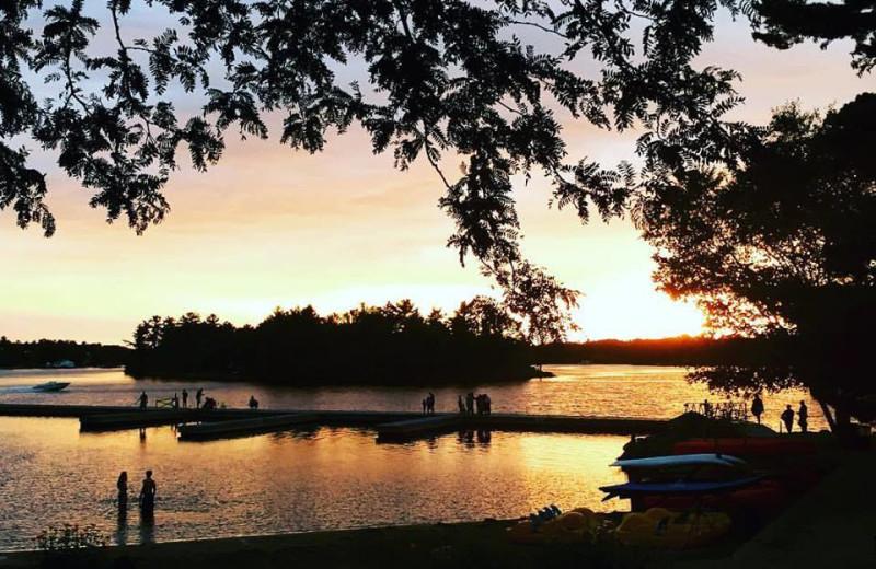 Lake sunset at Delawana Resort.