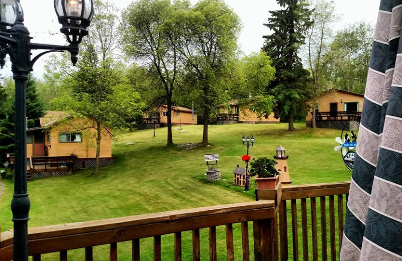 View of cabins at Pipestone Point Resort.