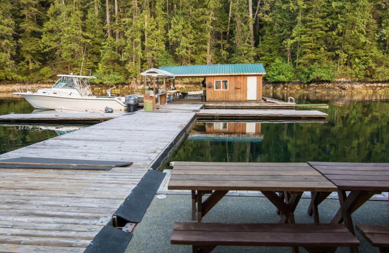 Dock at Nootka Wilderness Lodge.
