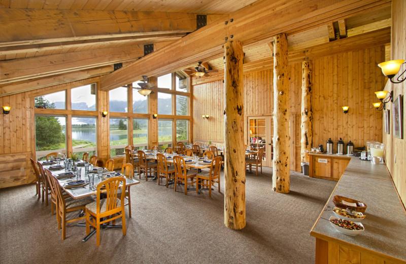 Dining at Kenai Fjords Glacier Lodge.