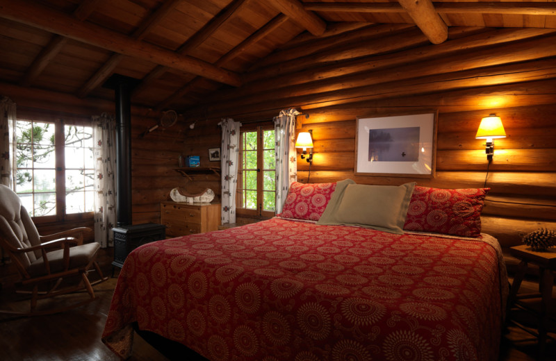 Cabin bedroom at Burntside Lodge.